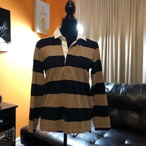 J. Crew rugby stripe polo long sleeve shirt brown